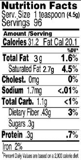 Coconut Cream Concentrate Nutrition Facts