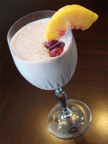 Raspberry Peach Melba Smoothie recipe photo