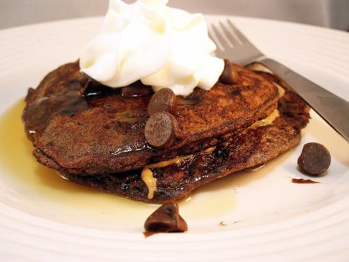 Gluten Free Chocolate Chocolate Chip Pancakes recipe photo
